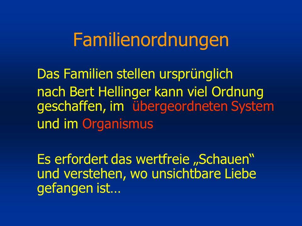 Familienordnungen Das Familien stellen ursprünglich nach Bert Hellinger kann viel Ordnung geschaffen, im übergeordneten System und im Organismus Es er