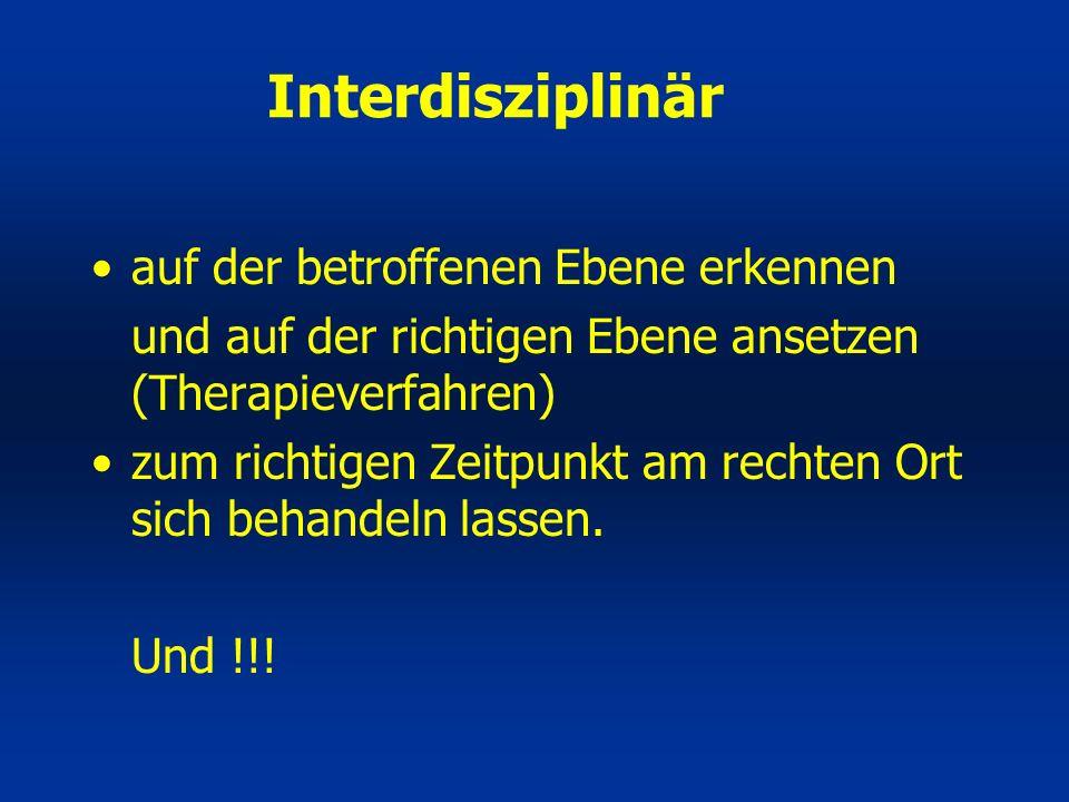 Interdisziplinär auf der betroffenen Ebene erkennen und auf der richtigen Ebene ansetzen (Therapieverfahren) zum richtigen Zeitpunkt am rechten Ort si