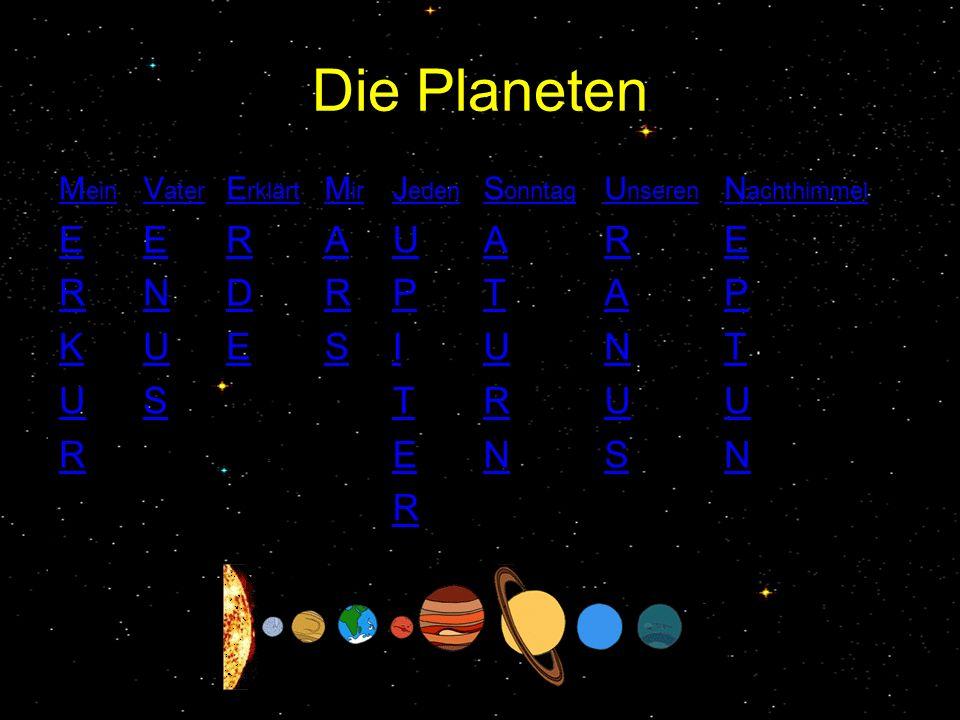Die Planeten M ein E R K U R V ater E N U S E rklärt R D E M ir A R S J eden U P I T E R S onntag A T U R N U nseren R A N U S N achthimmel E P T U N