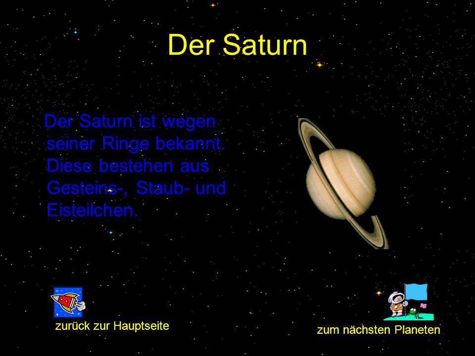 Der Saturn Der Saturn ist wegen seiner Ringe bekannt. Diese bestehen aus Gesteins-, Staub- und Eisteilchen. zum nächsten Planeten zurück zur Hauptseit