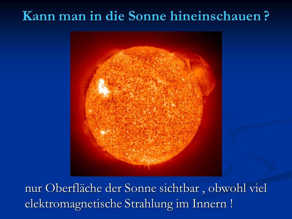Kann man in die Sonne hineinschauen ? nur Oberfläche der Sonne sichtbar, obwohl viel elektromagnetische Strahlung im Innern !