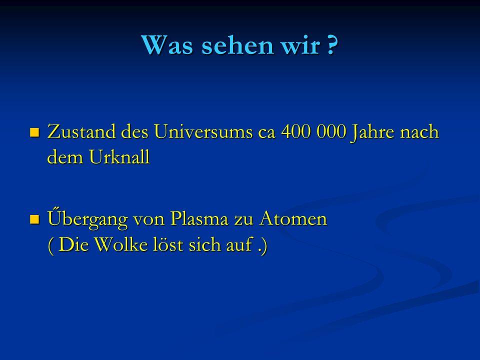 Was sehen wir ? Zustand des Universums ca 400 000 Jahre nach dem Urknall Zustand des Universums ca 400 000 Jahre nach dem Urknall Űbergang von Plasma