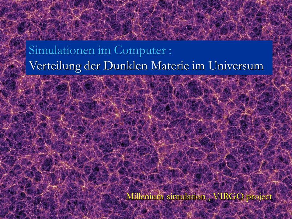 Millenium simulation, VIRGO project Simulationen im Computer : Verteilung der Dunklen Materie im Universum