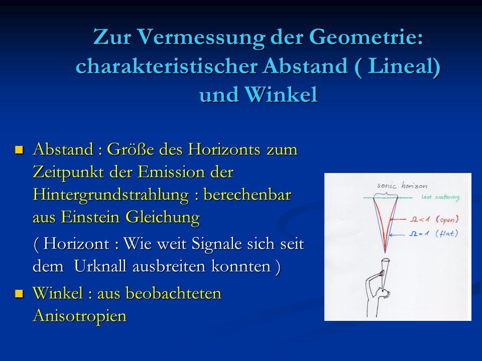 Zur Vermessung der Geometrie: charakteristischer Abstand ( Lineal) und Winkel Abstand : Größe des Horizonts zum Zeitpunkt der Emission der Hintergrund