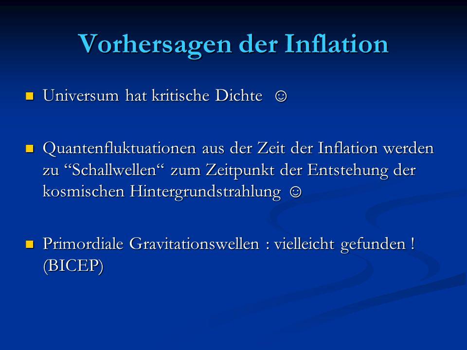 Vorhersagen der Inflation Universum hat kritische Dichte Universum hat kritische Dichte Quantenfluktuationen aus der Zeit der Inflation werden zu Scha