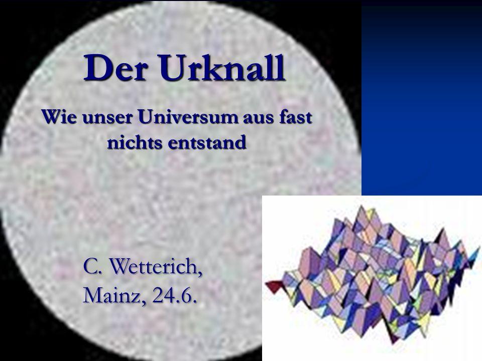 Der Urknall Wie unser Universum aus fast nichts entstand C. Wetterich, Mainz, 24.6.