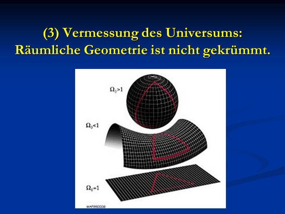 (3) Vermessung des Universums: Räumliche Geometrie ist nicht gekrümmt.