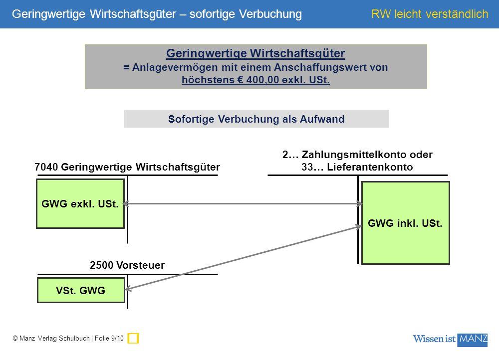 © Manz Verlag Schulbuch | Folie 10/10 RW leicht verständlich 2… Zahlungsmittelkonto oder 33… Lieferantenkonto GWG inkl.