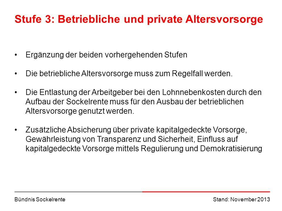 Bündnis SockelrenteStand: November 2013 Stufe 3: Betriebliche und private Altersvorsorge Ergänzung der beiden vorhergehenden Stufen Die betriebliche A