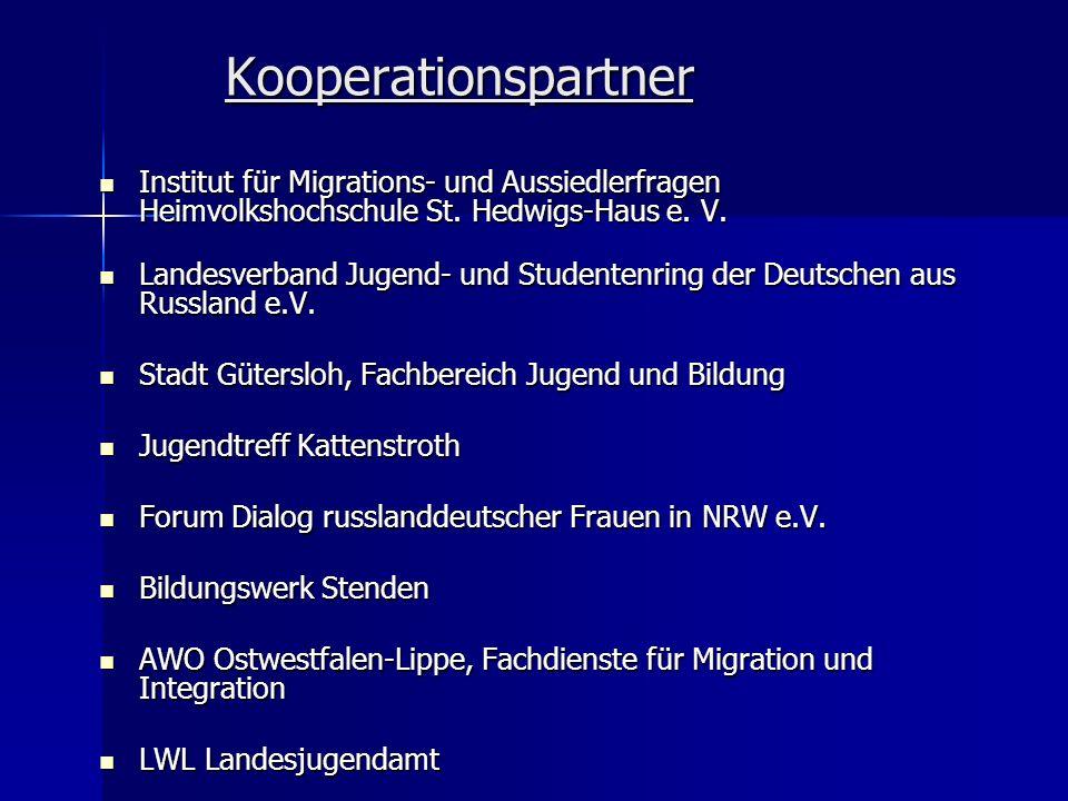 Kooperationspartner Institut für Migrations- und Aussiedlerfragen Heimvolkshochschule St. Hedwigs-Haus e. V. Institut für Migrations- und Aussiedlerfr