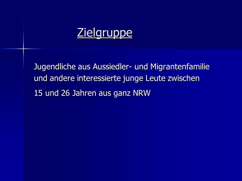 Zielgruppe Jugendliche aus Aussiedler- und Migrantenfamilie und andere interessierte junge Leute zwischen 15 und 26 Jahren aus ganz NRW