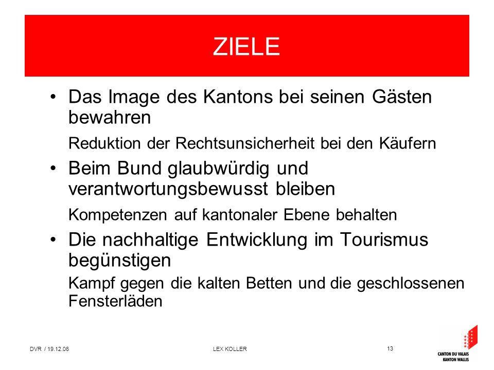 13 DVR / 19.12.06 LEX KOLLER ZIELE Das Image des Kantons bei seinen Gästen bewahren Reduktion der Rechtsunsicherheit bei den Käufern Beim Bund glaubwü