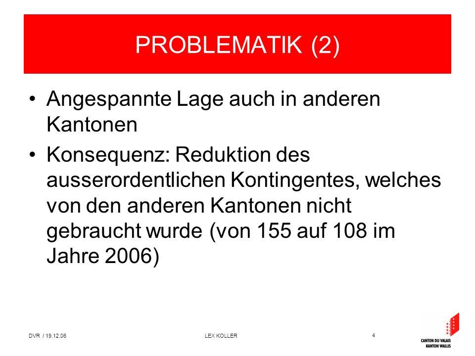 4 DVR / 19.12.06 LEX KOLLER PROBLEMATIK (2) Angespannte Lage auch in anderen Kantonen Konsequenz: Reduktion des ausserordentlichen Kontingentes, welches von den anderen Kantonen nicht gebraucht wurde (von 155 auf 108 im Jahre 2006)