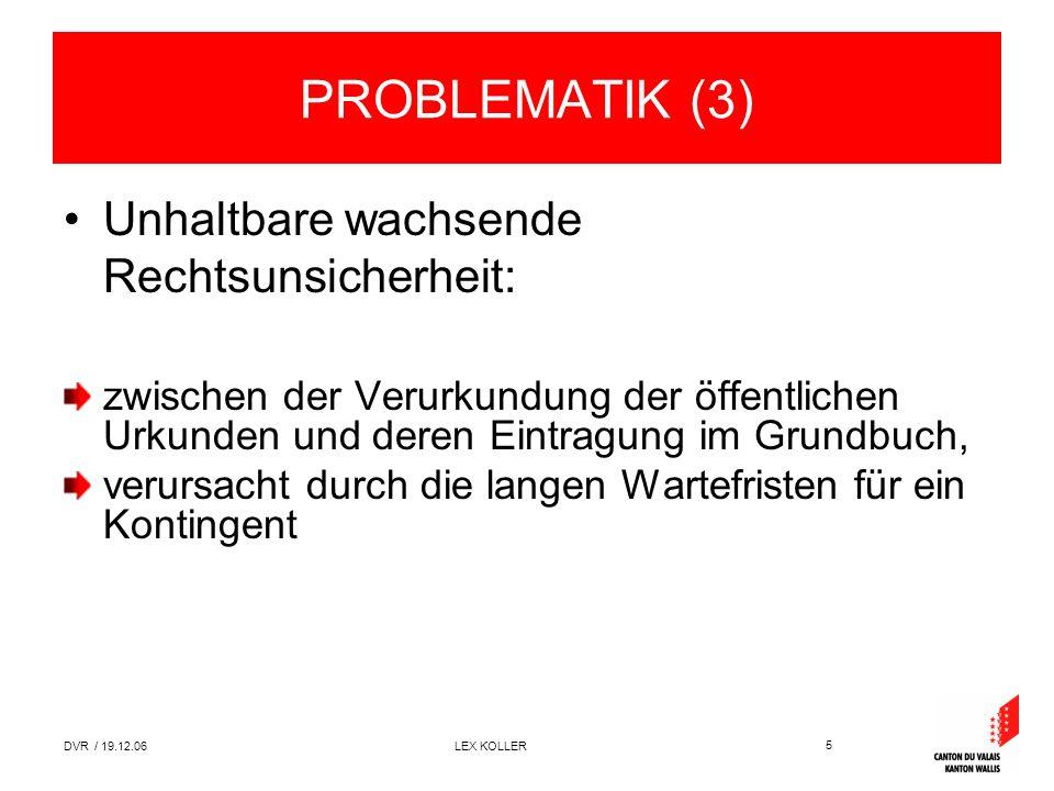 5 DVR / 19.12.06 LEX KOLLER PROBLEMATIK (3) Unhaltbare wachsende Rechtsunsicherheit: zwischen der Verurkundung der öffentlichen Urkunden und deren Eintragung im Grundbuch, verursacht durch die langen Wartefristen für ein Kontingent