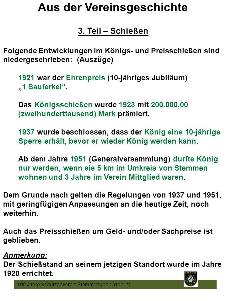 15 100 Jahre Schützenverein Stemmen von 1911 e. V.