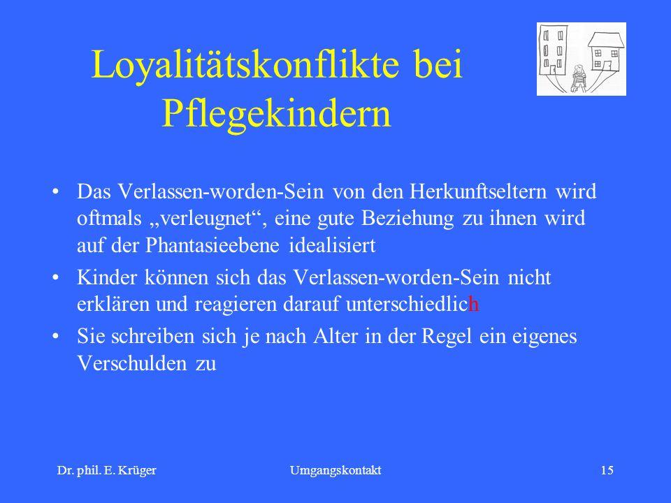 Dr. phil. E. KrügerUmgangskontakt15 Loyalitätskonflikte bei Pflegekindern Das Verlassen-worden-Sein von den Herkunftseltern wird oftmals verleugnet, e