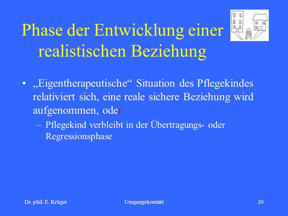 Dr. phil. E. KrügerUmgangskontakt20 Phase der Entwicklung einer realistischen Beziehung Eigentherapeutische Situation des Pflegekindes relativiert sic