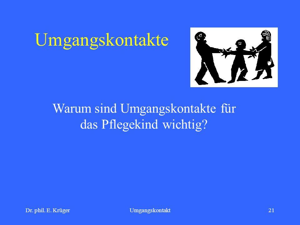 Dr. phil. E. KrügerUmgangskontakt21 Umgangskontakte Warum sind Umgangskontakte für das Pflegekind wichtig?