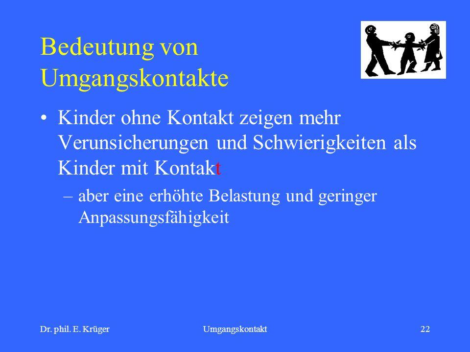 Dr. phil. E. KrügerUmgangskontakt22 Bedeutung von Umgangskontakte Kinder ohne Kontakt zeigen mehr Verunsicherungen und Schwierigkeiten als Kinder mit