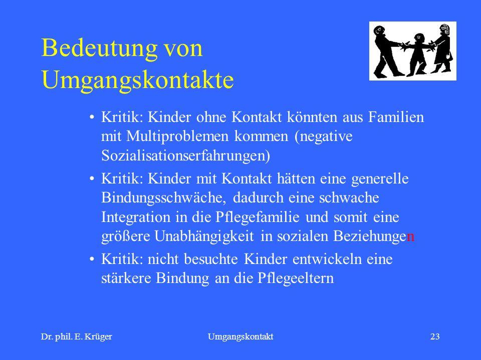 Dr. phil. E. KrügerUmgangskontakt23 Bedeutung von Umgangskontakte Kritik: Kinder ohne Kontakt könnten aus Familien mit Multiproblemen kommen (negative