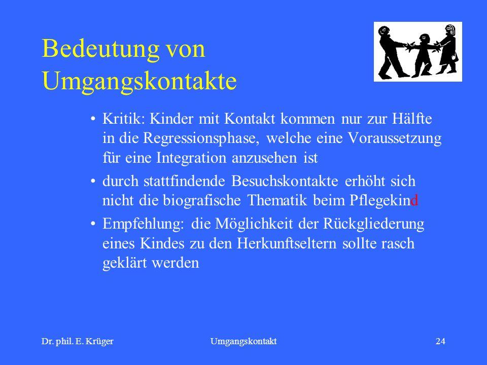 Dr. phil. E. KrügerUmgangskontakt24 Bedeutung von Umgangskontakte Kritik: Kinder mit Kontakt kommen nur zur Hälfte in die Regressionsphase, welche ein