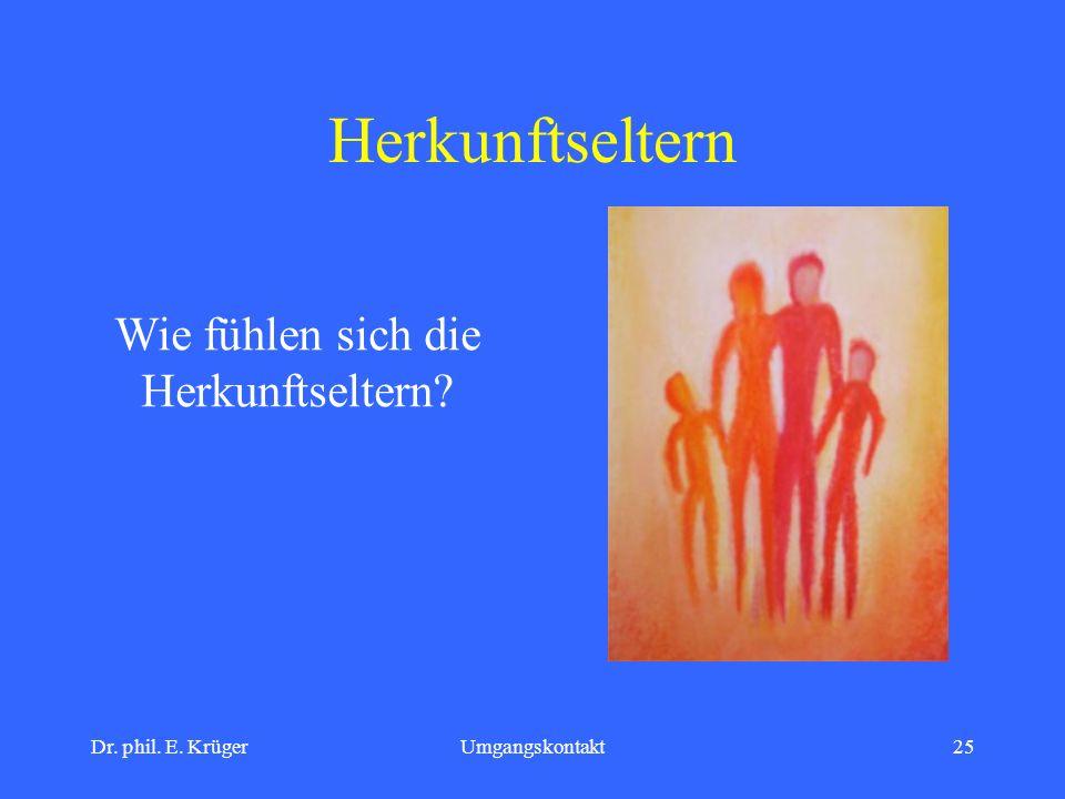 Dr. phil. E. KrügerUmgangskontakt25 Herkunftseltern Wie fühlen sich die Herkunftseltern?