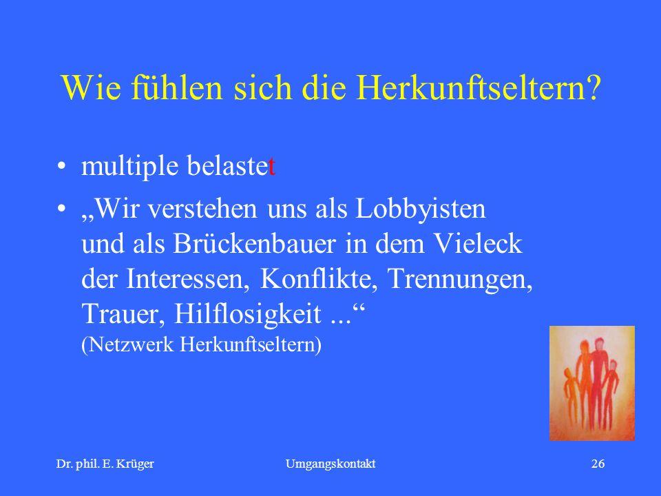 Dr. phil. E. KrügerUmgangskontakt26 Wie fühlen sich die Herkunftseltern? multiple belastet Wir verstehen uns als Lobbyisten und als Brückenbauer in de