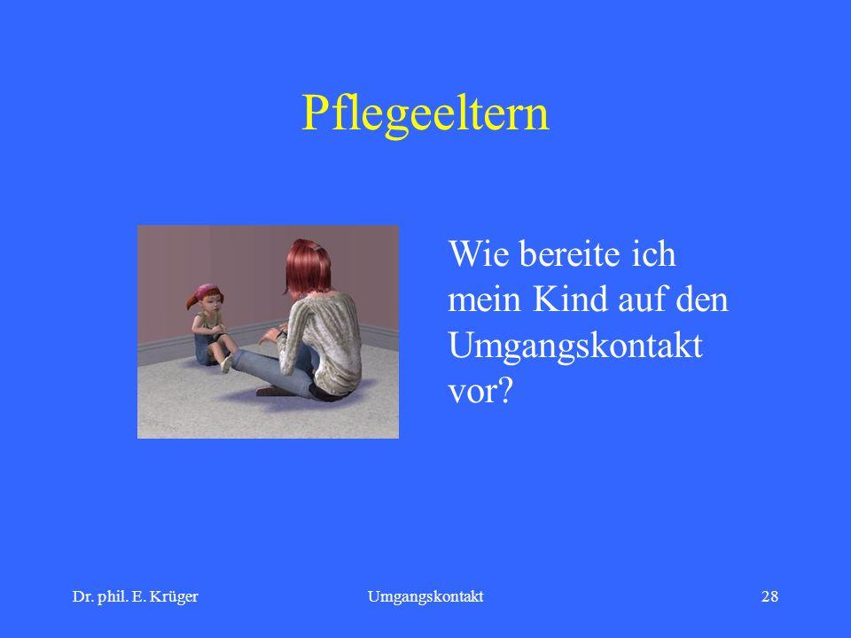 Dr. phil. E. KrügerUmgangskontakt28 Pflegeeltern Wie bereite ich mein Kind auf den Umgangskontakt vor?
