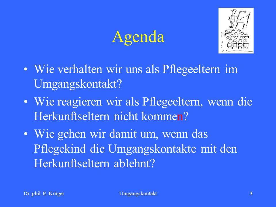 Dr. phil. E. KrügerUmgangskontakt3 Agenda Wie verhalten wir uns als Pflegeeltern im Umgangskontakt? Wie reagieren wir als Pflegeeltern, wenn die Herku