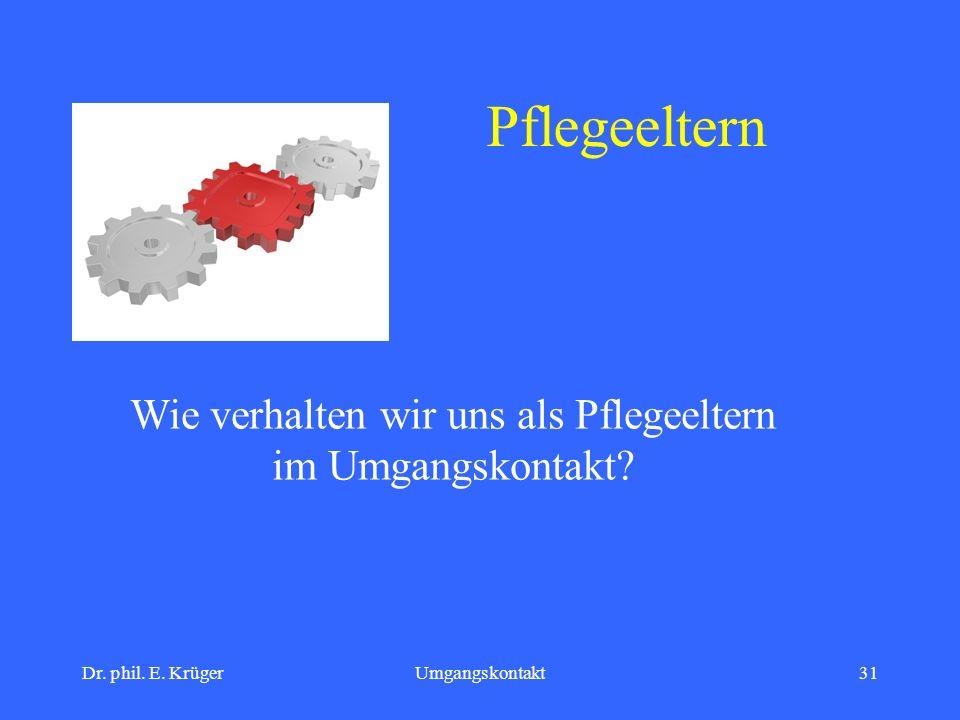 Dr. phil. E. KrügerUmgangskontakt31 Pflegeeltern Wie verhalten wir uns als Pflegeeltern im Umgangskontakt?