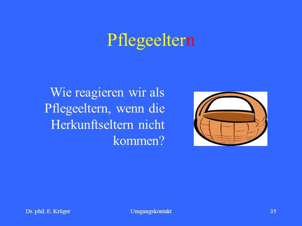 Dr. phil. E. KrügerUmgangskontakt35 Pflegeeltern Wie reagieren wir als Pflegeeltern, wenn die Herkunftseltern nicht kommen?