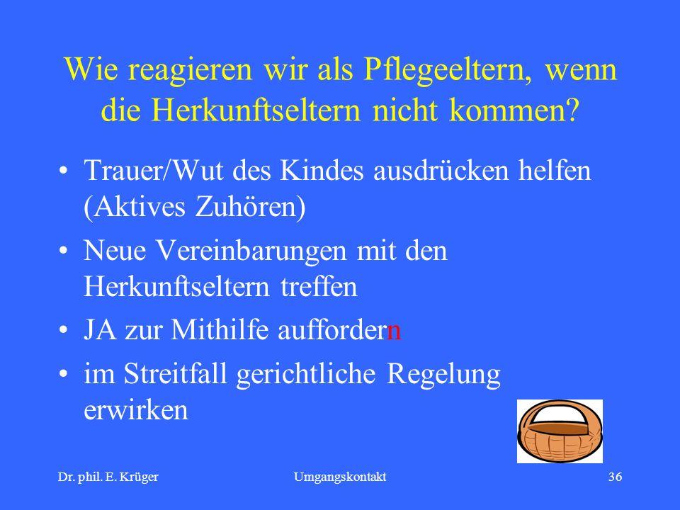 Dr. phil. E. KrügerUmgangskontakt36 Wie reagieren wir als Pflegeeltern, wenn die Herkunftseltern nicht kommen? Trauer/Wut des Kindes ausdrücken helfen