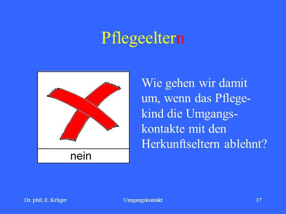 Dr. phil. E. KrügerUmgangskontakt37 Pflegeeltern Wie gehen wir damit um, wenn das Pflege- kind die Umgangs- kontakte mit den Herkunftseltern ablehnt?
