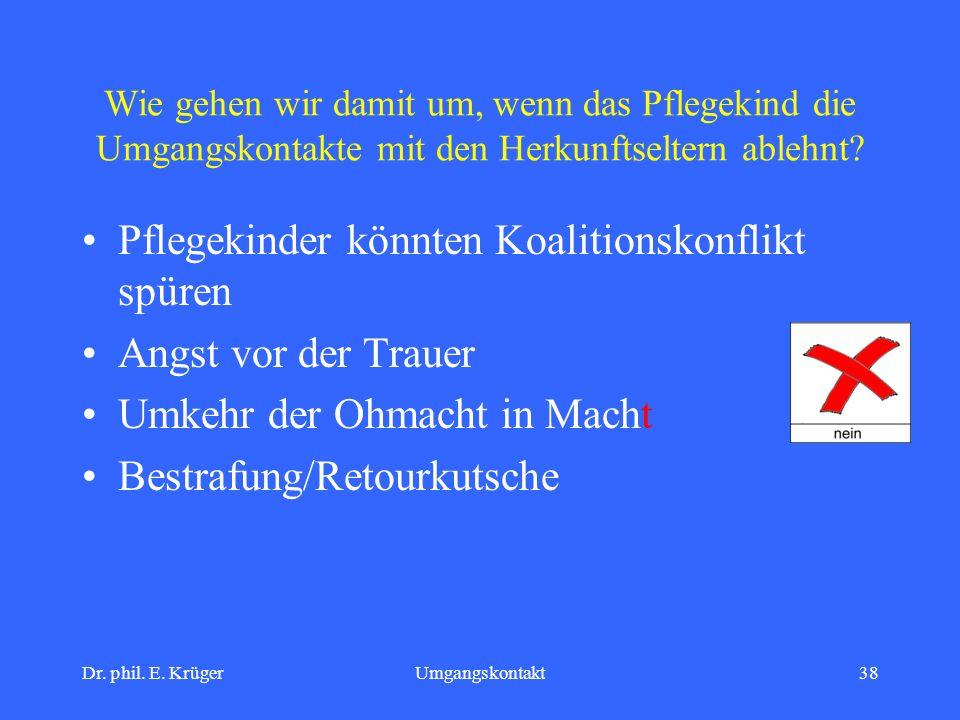 Dr. phil. E. KrügerUmgangskontakt38 Wie gehen wir damit um, wenn das Pflegekind die Umgangskontakte mit den Herkunftseltern ablehnt? Pflegekinder könn