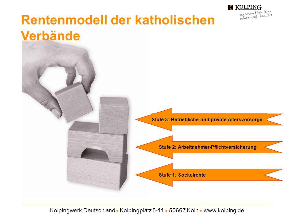 Kolpingwerk Deutschland Kolpingplatz 5-11 50667 Köln www.kolping.de Rentenmodell der katholischen Verbände Stufe 1: Sockelrente Stufe 2: Arbeitnehmer-PflichtversicherungStufe 3: Betriebliche und private Altersvorsorge