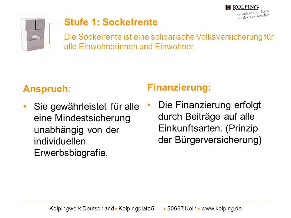 Kolpingwerk Deutschland Kolpingplatz 5-11 50667 Köln www.kolping.de Stufe 1: Sockelrente Die Sockelrente ist eine solidarische Volksversicherung für alle Einwohnerinnen und Einwohner.