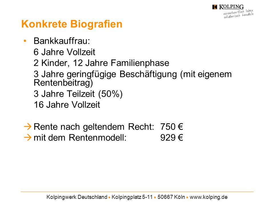 Kolpingwerk Deutschland Kolpingplatz 5-11 50667 Köln www.kolping.de Konkrete Biografien Bankkauffrau: 6 Jahre Vollzeit 2 Kinder, 12 Jahre Familienphase 3 Jahre geringfügige Beschäftigung (mit eigenem Rentenbeitrag) 3 Jahre Teilzeit (50%) 16 Jahre Vollzeit Rente nach geltendem Recht: 750 mit dem Rentenmodell: 929