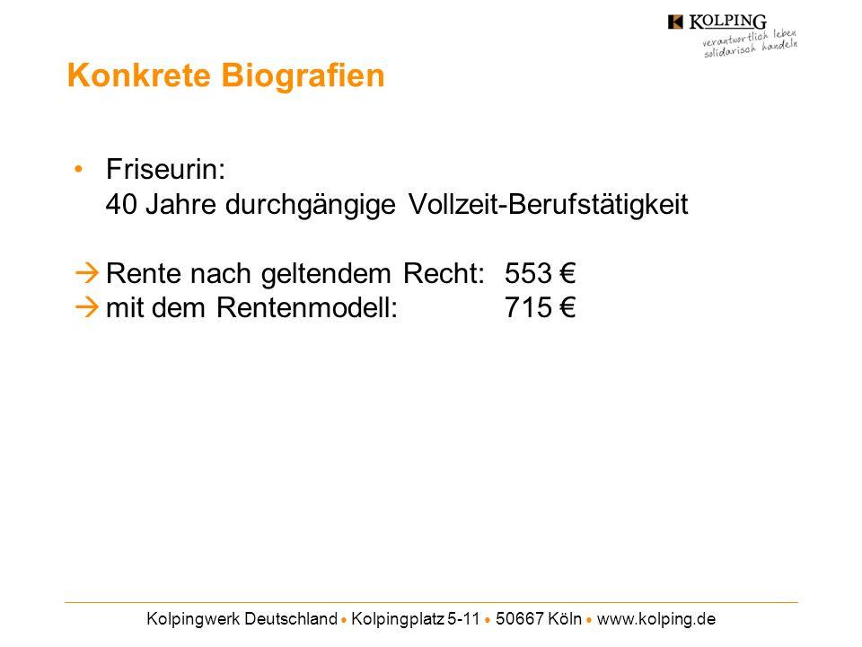 Kolpingwerk Deutschland Kolpingplatz 5-11 50667 Köln www.kolping.de Konkrete Biografien Friseurin: 40 Jahre durchgängige Vollzeit-Berufstätigkeit Rente nach geltendem Recht: 553 mit dem Rentenmodell: 715