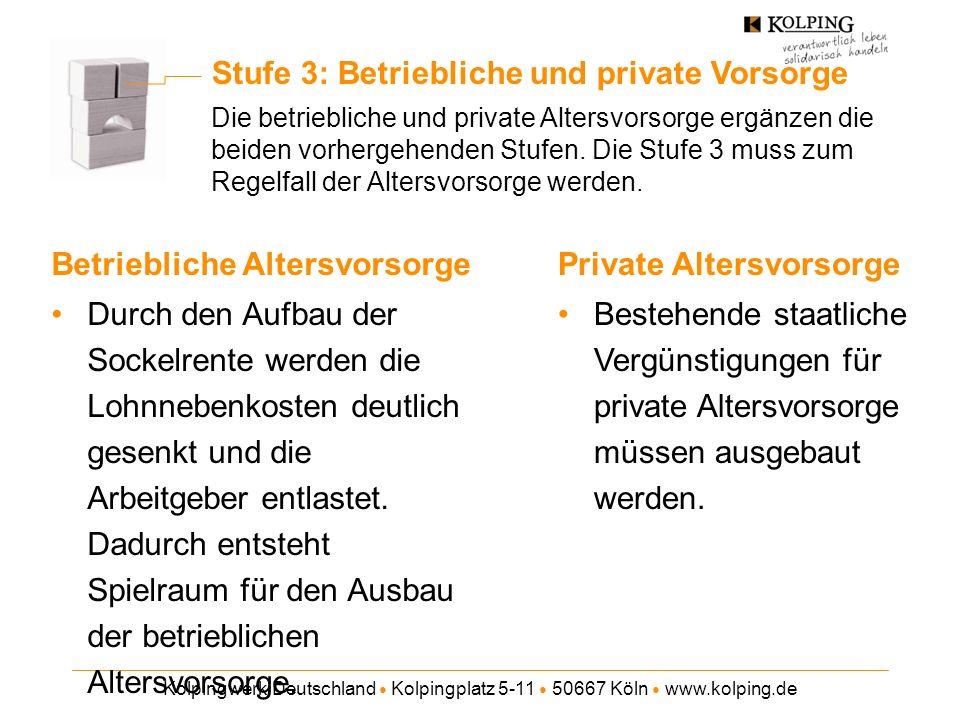 Kolpingwerk Deutschland Kolpingplatz 5-11 50667 Köln www.kolping.de Stufe 3: Betriebliche und private Vorsorge Die betriebliche und private Altersvorsorge ergänzen die beiden vorhergehenden Stufen.