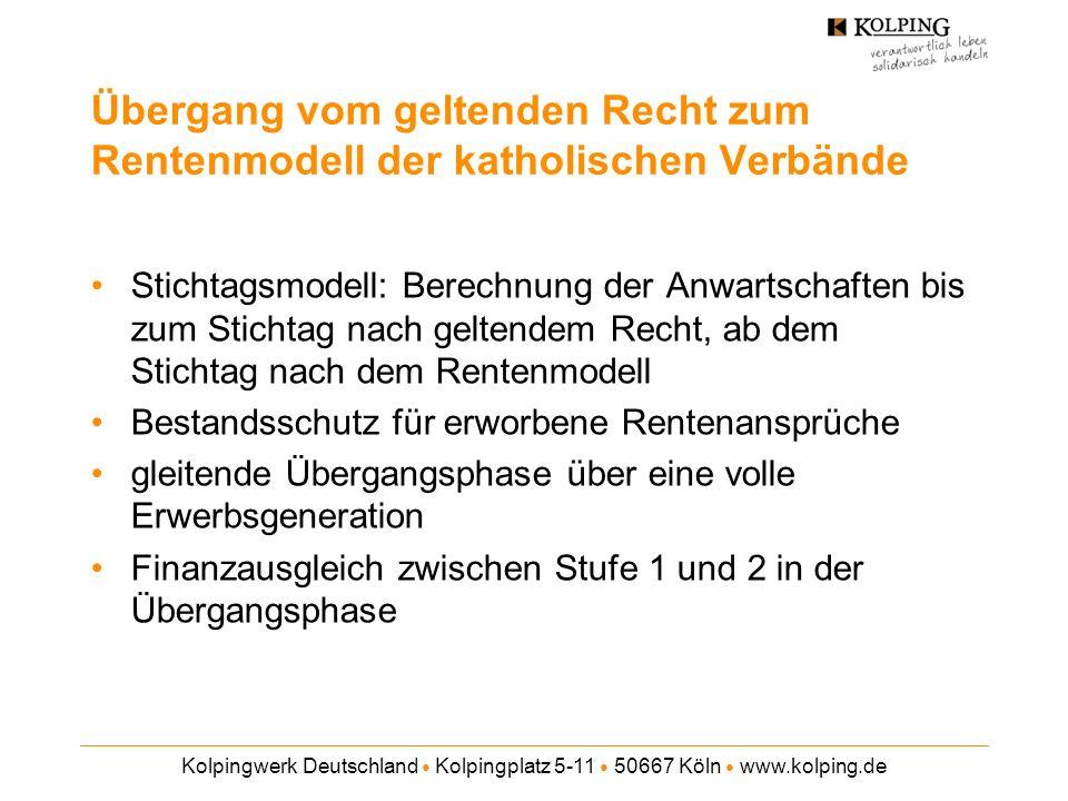Kolpingwerk Deutschland Kolpingplatz 5-11 50667 Köln www.kolping.de Übergang vom geltenden Recht zum Rentenmodell der katholischen Verbände Stichtagsmodell: Berechnung der Anwartschaften bis zum Stichtag nach geltendem Recht, ab dem Stichtag nach dem Rentenmodell Bestandsschutz für erworbene Rentenansprüche gleitende Übergangsphase über eine volle Erwerbsgeneration Finanzausgleich zwischen Stufe 1 und 2 in der Übergangsphase