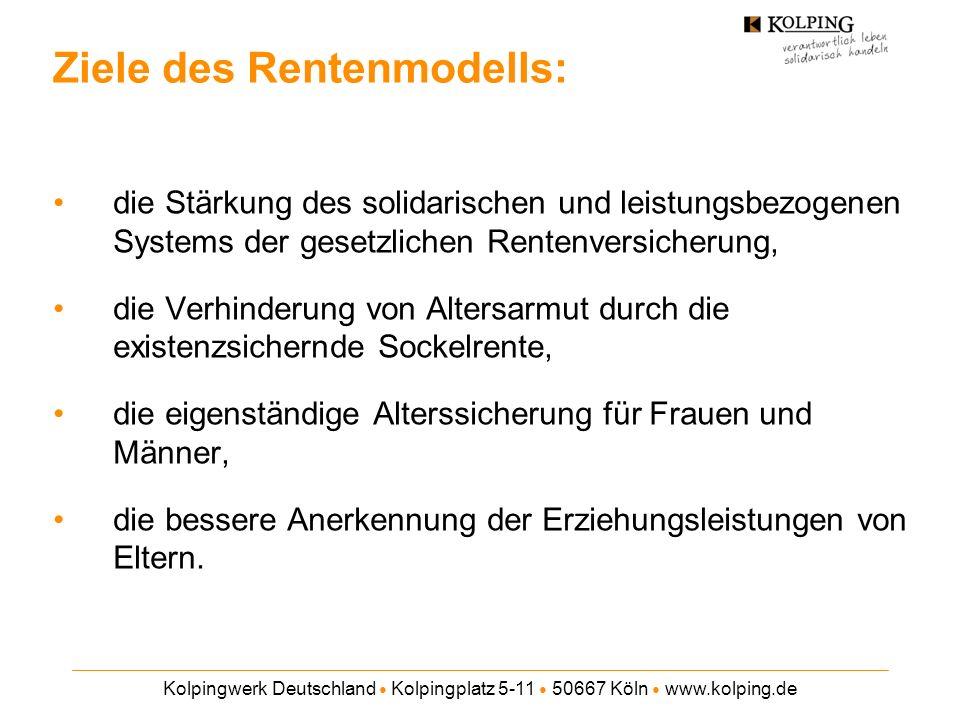 Kolpingwerk Deutschland Kolpingplatz 5-11 50667 Köln www.kolping.de Stufe 1: Sockelrente in ALG II-Höhe (345 ) Beitragssatz von 5,3% auf alle positiven Einkünfte Stufe 2: Arbeitnehmer-Pflichtversicherung Beitragssatz von 14,7% für 67% des derzeitigen Rentenwertes Die Summe der Abgabensätze liegt langfristig um etwa 2 Prozentpunkte niedriger als nach geltendem Recht, wird aber nicht mehr paritätisch finanziert.