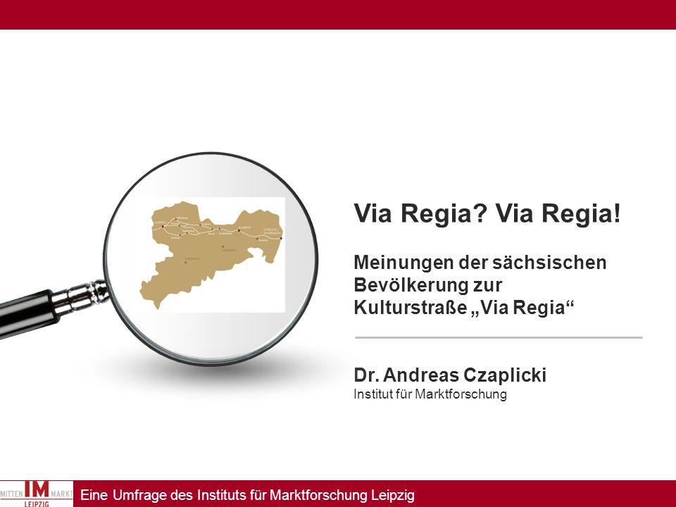 Eine Umfrage des Instituts für Marktforschung Leipzig Bekanntheit der Via Regia 15% der Sachsen können mit dem Namen Via Regia spontan etwas anfangen ( = weitgehend korrekte Nennung).