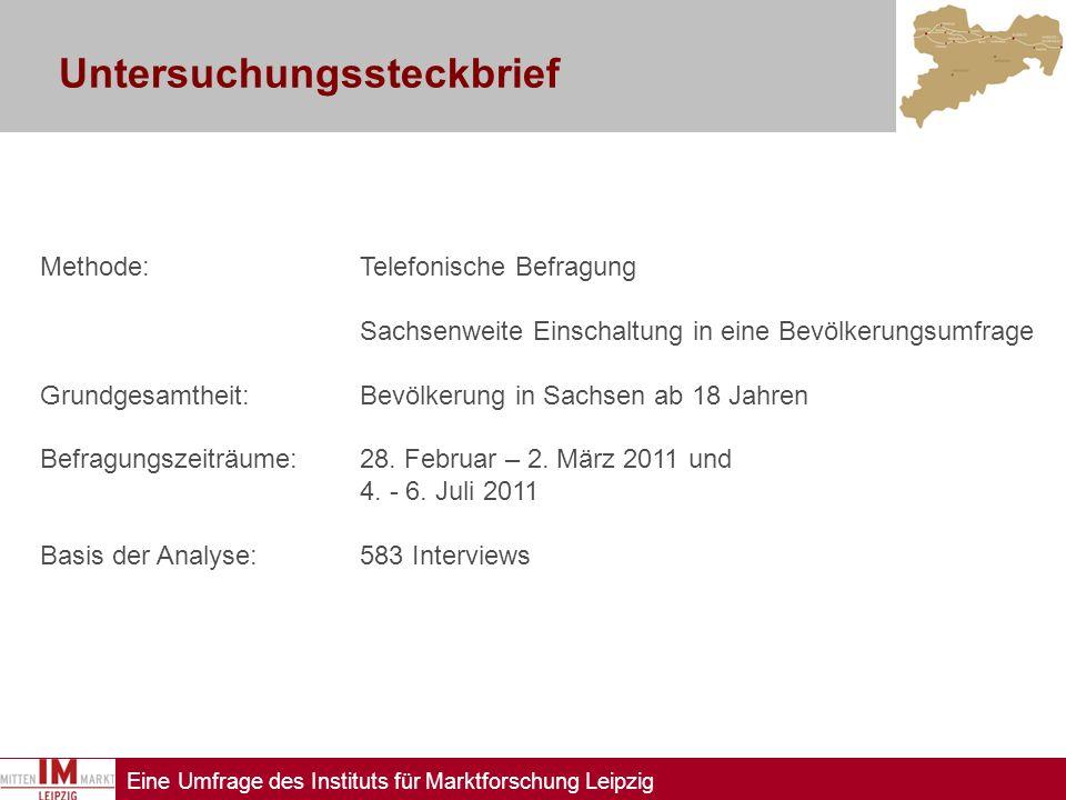 Eine Umfrage des Instituts für Marktforschung Leipzig Untersuchungssteckbrief Methode:Telefonische Befragung Sachsenweite Einschaltung in eine Bevölke