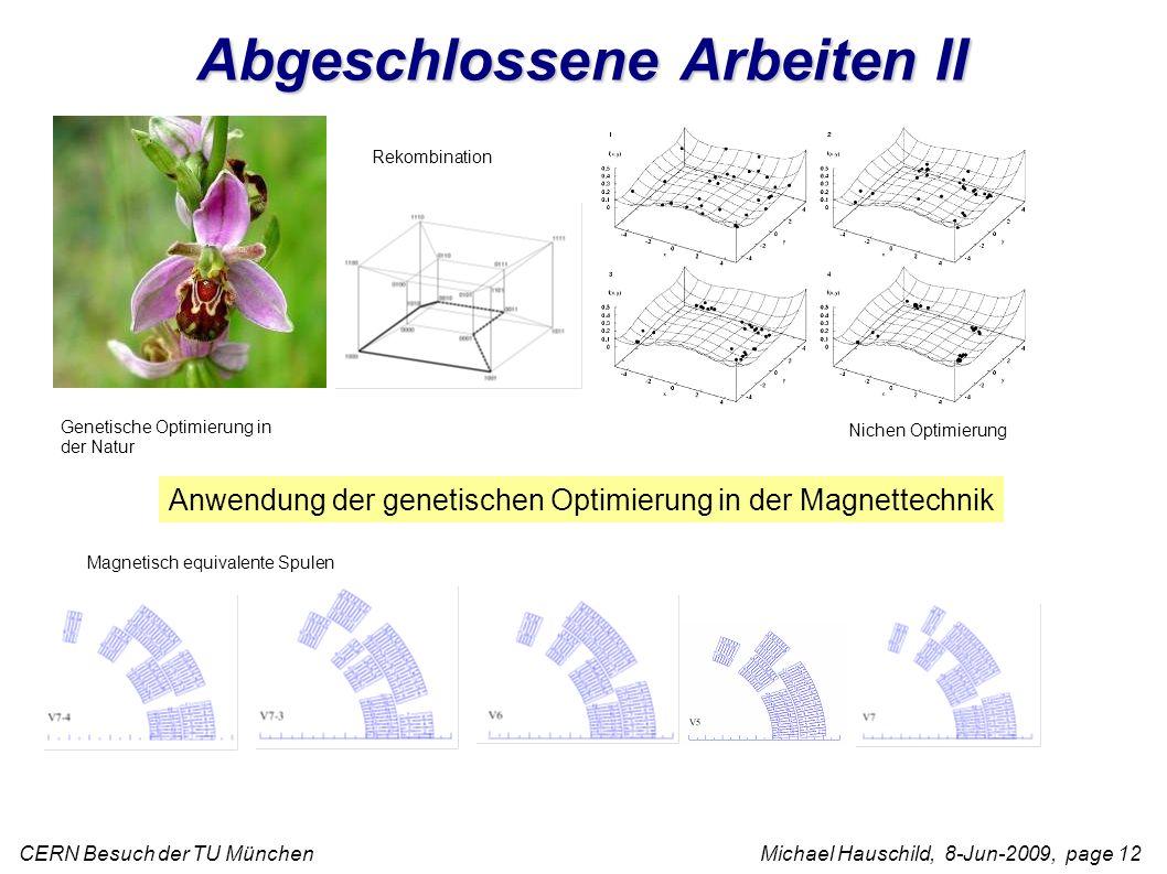 CERN Besuch der TU München Michael Hauschild, 8-Jun-2009, page 12 Anwendung der genetischen Optimierung in der Magnettechnik Magnetisch equivalente Spulen Genetische Optimierung in der Natur Rekombination Nichen Optimierung Abgeschlossene Arbeiten II