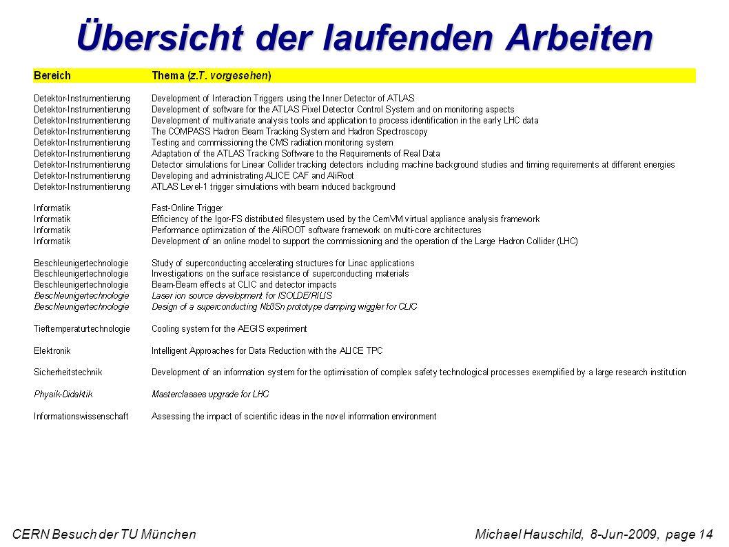 CERN Besuch der TU München Michael Hauschild, 8-Jun-2009, page 14 Übersicht der laufenden Arbeiten