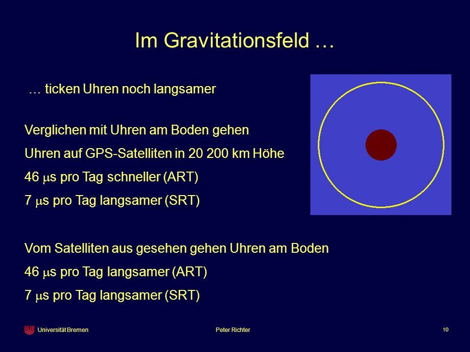 Peter Richter 10 Universität Bremen Im Gravitationsfeld … Verglichen mit Uhren am Boden gehen Uhren auf GPS-Satelliten in 20 200 km Höhe 46 s pro Tag