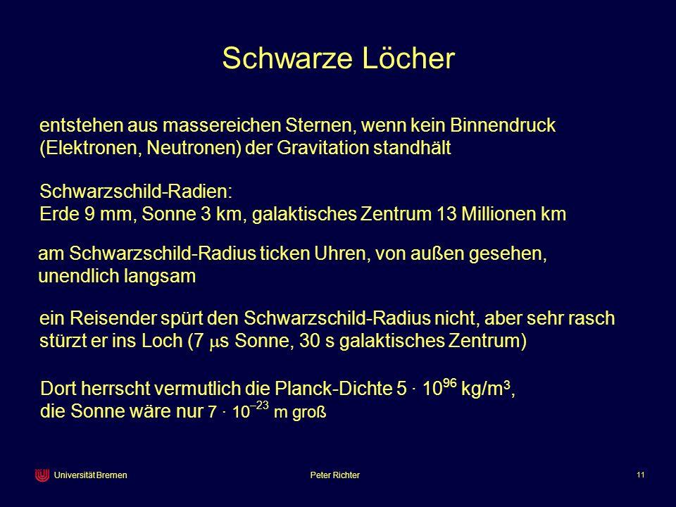 Peter Richter 11 Universität Bremen Schwarze Löcher ein Reisender spürt den Schwarzschild-Radius nicht, aber sehr rasch stürzt er ins Loch (7 s Sonne,