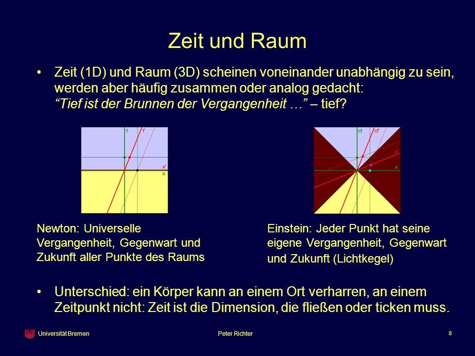 Peter Richter 8 Universität Bremen Zeit und Raum Newton: Universelle Vergangenheit, Gegenwart und Zukunft aller Punkte des Raums Einstein: Jeder Punkt