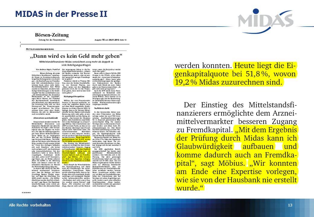 Alle Rechte vorbehalten13 MIDAS in der Presse II