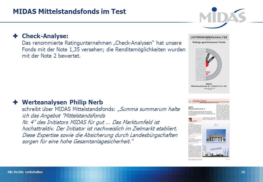 Alle Rechte vorbehalten18 MIDAS Mittelstandsfonds im Test Check-Analyse: Das renommierte Ratingunternehmen Check-Analysen hat unsere Fonds mit der Note 1,35 versehen; die Renditemöglichkeiten wurden mit der Note 2 bewertet.